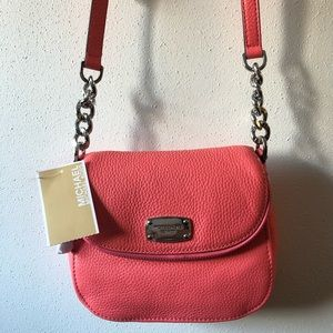 NWT Michael Kors Coral Leather Crossbody